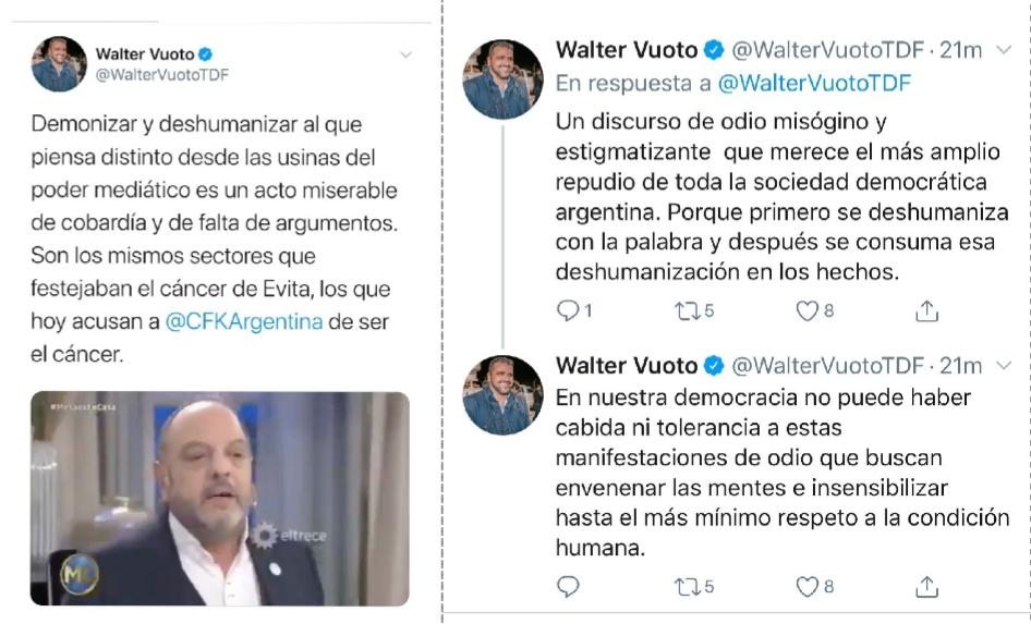 WALTER VUOTO REPUDIÓ EL ATAQUE A LA VICEPRESIDENTA CRISTINA FERNÁNDEZ DE KIRCHNER