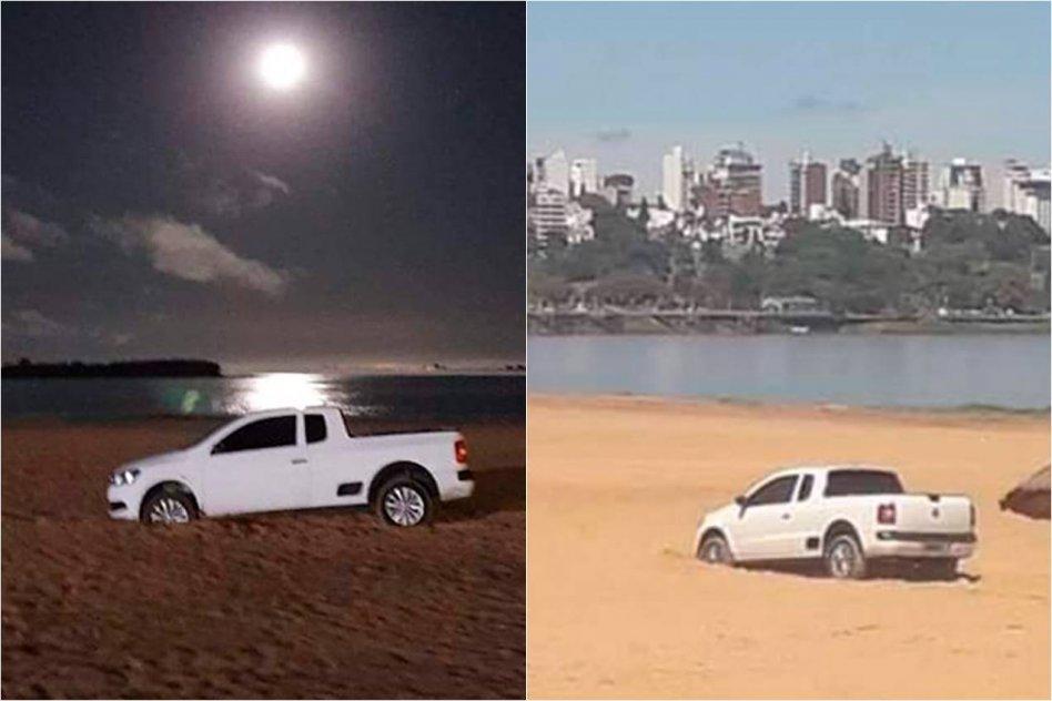 Trató de evitar un control policial, escapó por la playa y quedó atascado en la arena