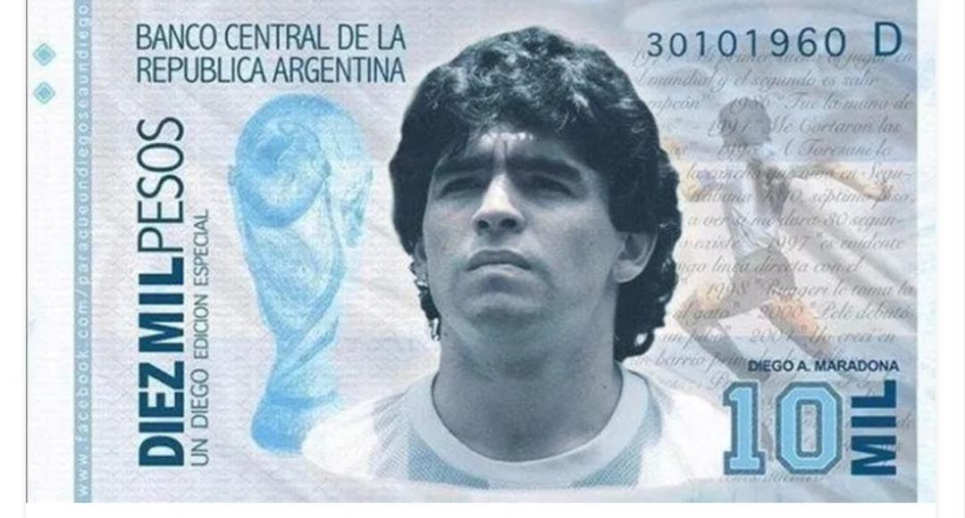 Lanzan campaña para que el Gobierno emita un billete de $10.000 con la imagen de Diego Maradona