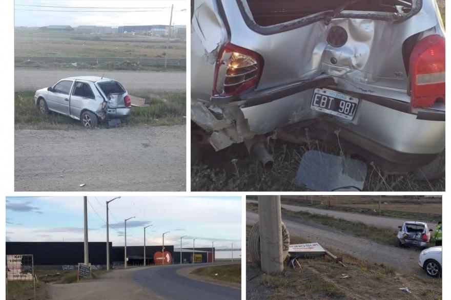 Chocó contra un poste y dejó el auto abandonado a un costado de la ruta 3 frente a Diarco