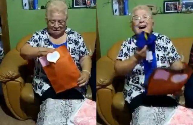 Abuelita fan de Boca se conmueve al recibir una camiseta del club por primera vez en su vida