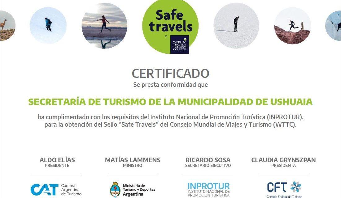 """LA MUNICIPALIDAD DE USHUAIA DESTACÓ QUE LA CIUDAD YA CUENTA CON EL SELLO """"SAFE TRAVELS"""""""