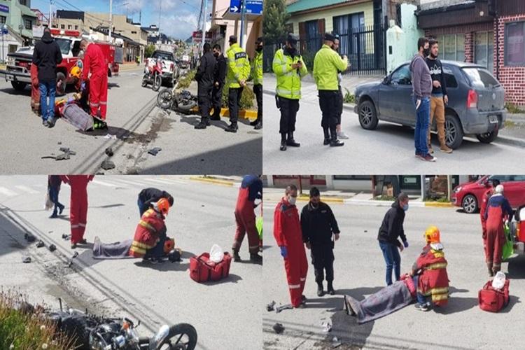 Choque entre auto y motociclista en Ushuaia