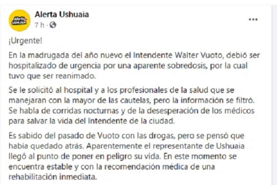 Fake News: Una página de Ushuaia inventó que Walter Vuoto fue hospitalizado