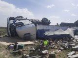 Tragedia en la ruta 3: Volcó un camión por el viento y murió el chofer